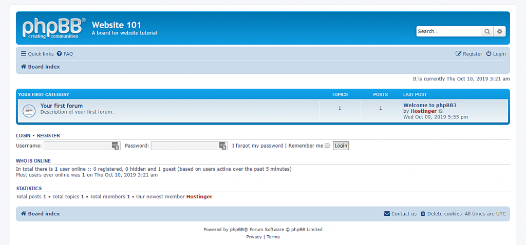 This image shows you the appearance of the phpBB dashboard after you successfully install it.