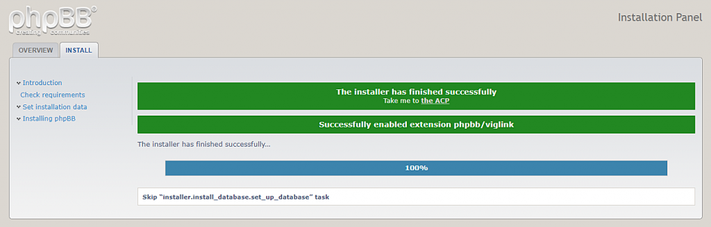 the confirmation message informing about successful phpBB installation