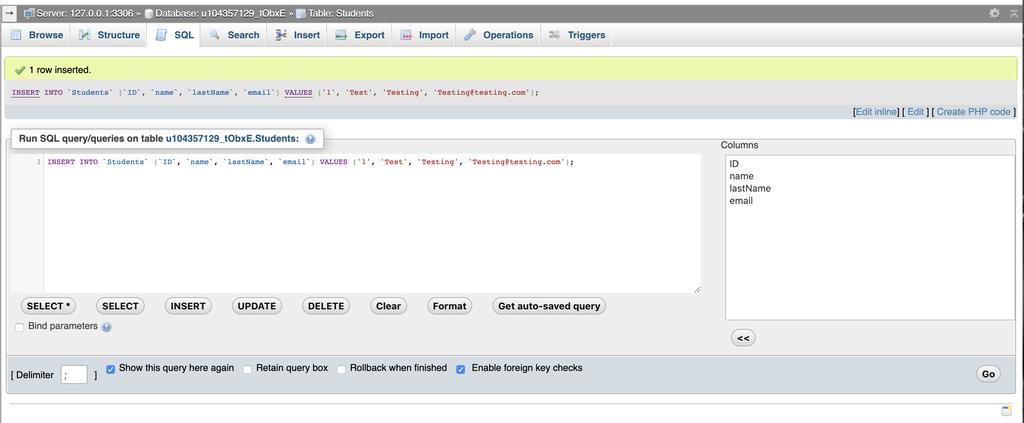 phpMyAdmin Data inserted into MySQL using PHP