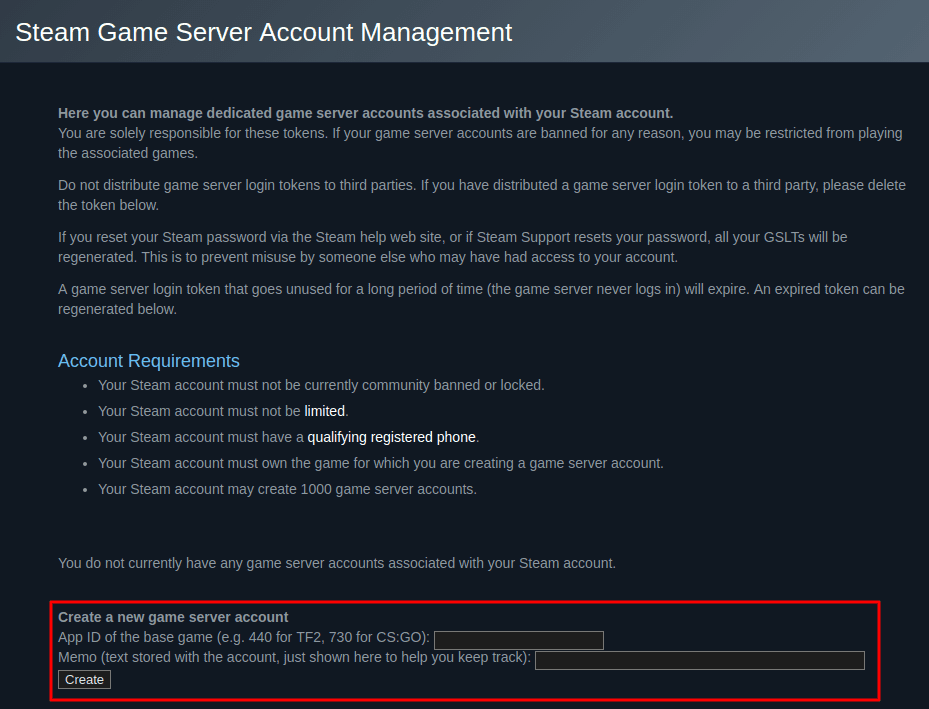 Using the Steam game server account management page