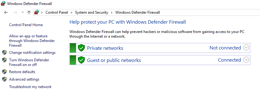 This image shows you windows defender firewall settings on Windows to fix the ECONNREFUSED - connection refused by server error.