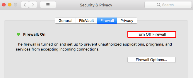 This image shows you how to turn off firewall on macOs