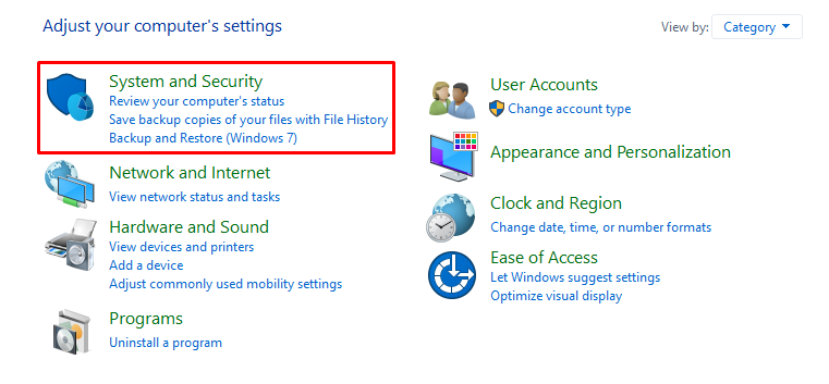 This image shows you the System and Security on Windows.