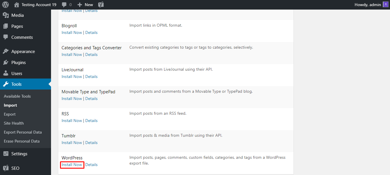 This image shows you the WordPress importer tool