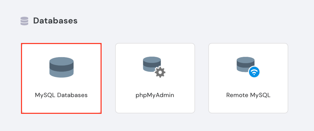 Databases category on the hPanel
