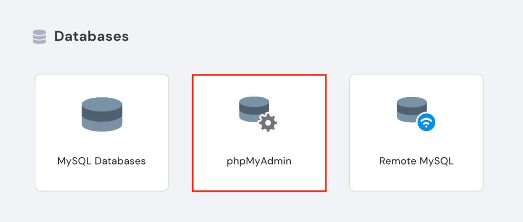 phpMyAdmin on hPanel