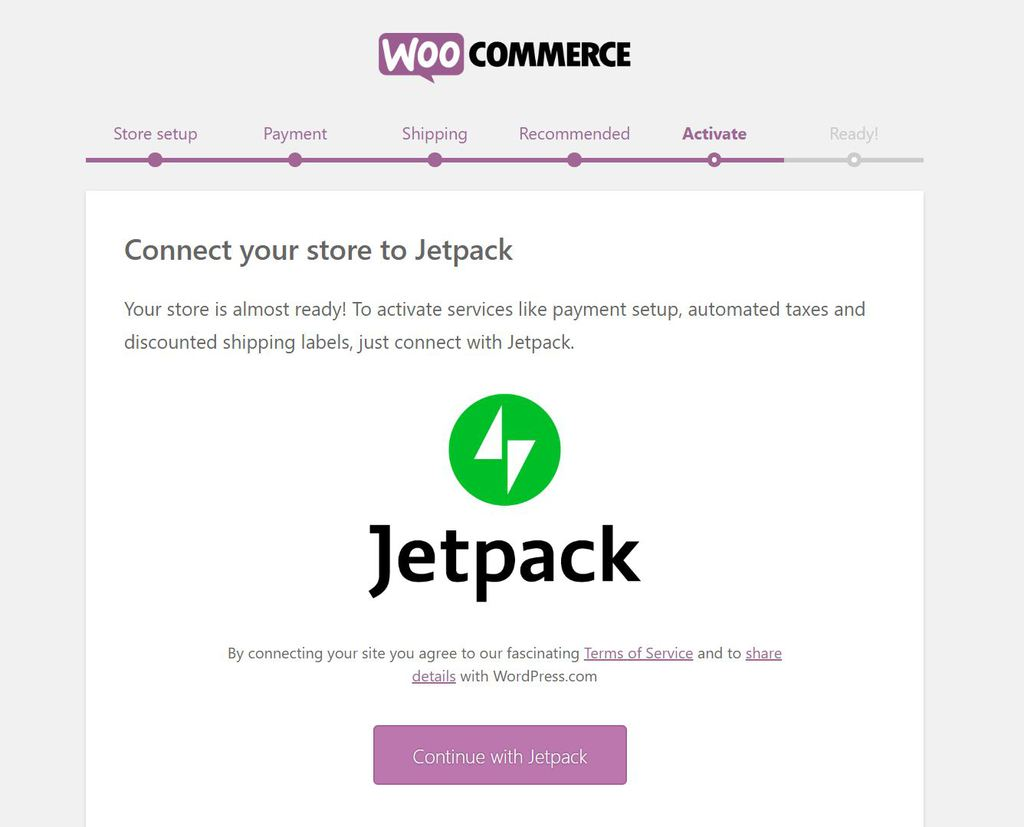 Activating Jetpack in WooCommerce.