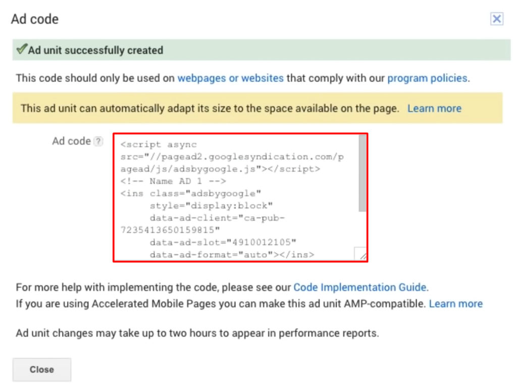 ad code for displaying google adsense to wordpress