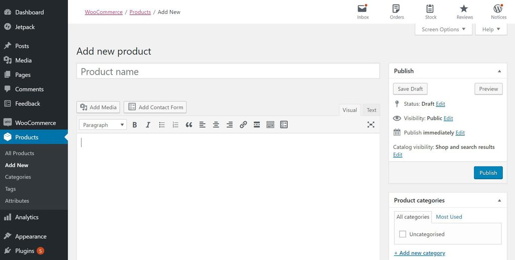 The product creation interface in WooCommerce.