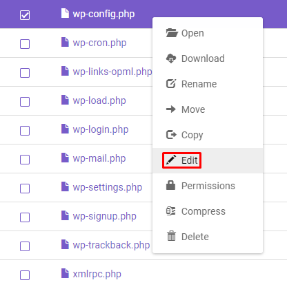 Screenshot of File Manager's edit button