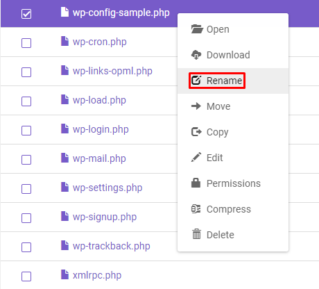 Screenshot of File Manager's rename function