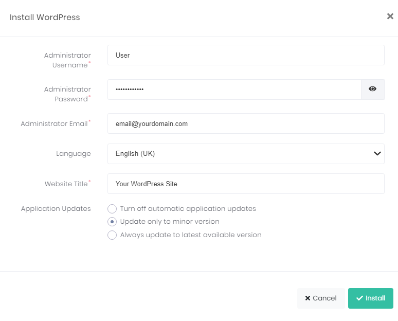 The required fields for WordPress Installation in hPanel.