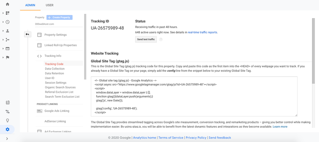 Google Analytics Tracking Code page that will be used to add Google Analytics to your WordPress website manually