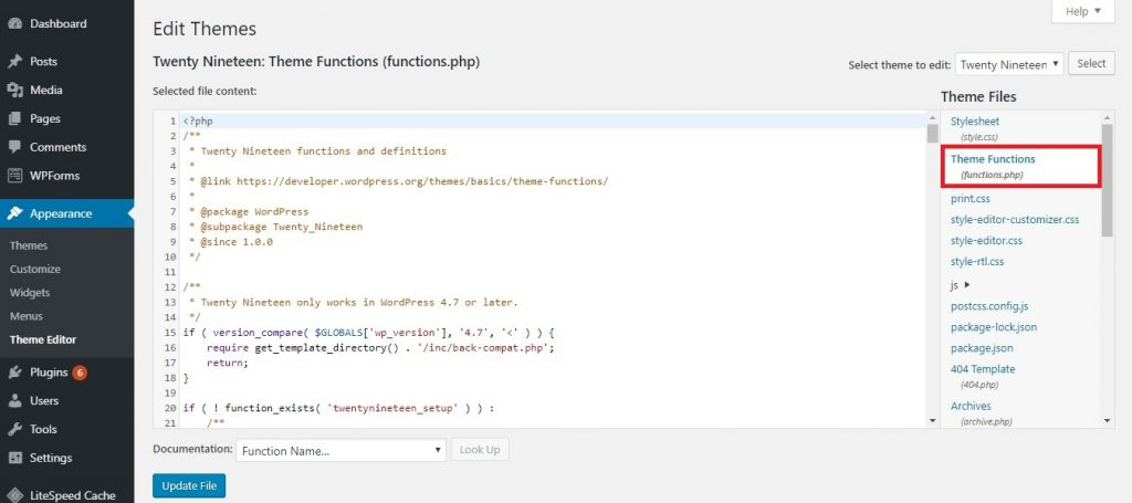 WordPress Theme Editor page. The functions.php file can be found on the right column.