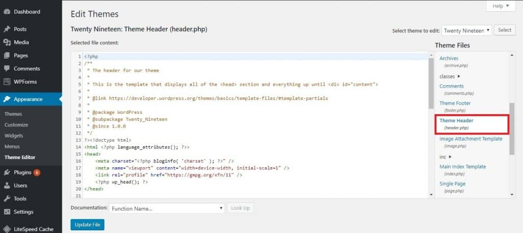WordPress Theme Editor page. The header.php file can be found on the right column.