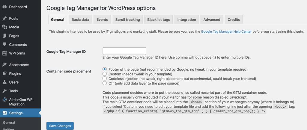 options for setting up google tag manager for wordpress