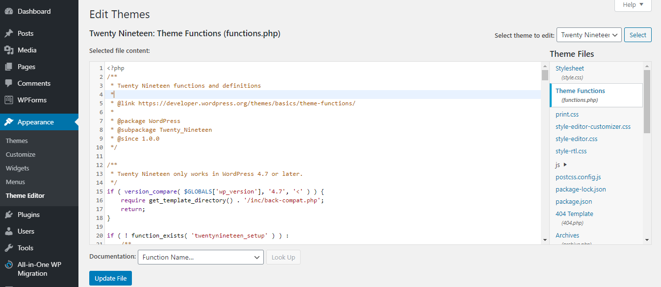 Editing the functions.php file in WordPress.