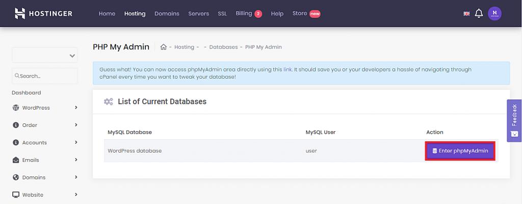 Accessing phpMyAdmin from Hostinger's hPanel.