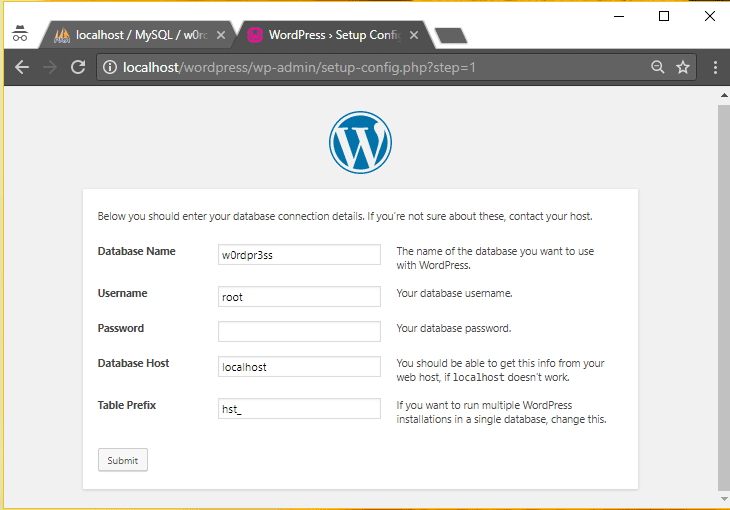 Install WordPress locally via WampServer on Windows