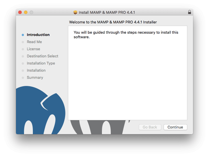 MAMP installation wizard on Mac