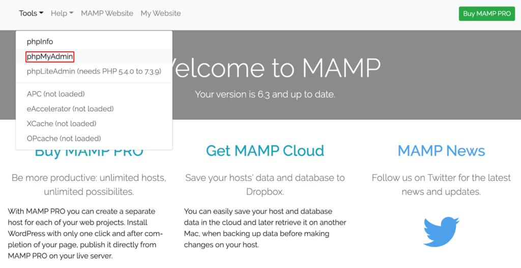 Screenshot of the MAMP phpmyadmin button