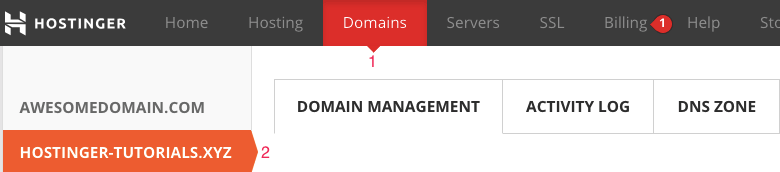 Managing domain names through Hostinger