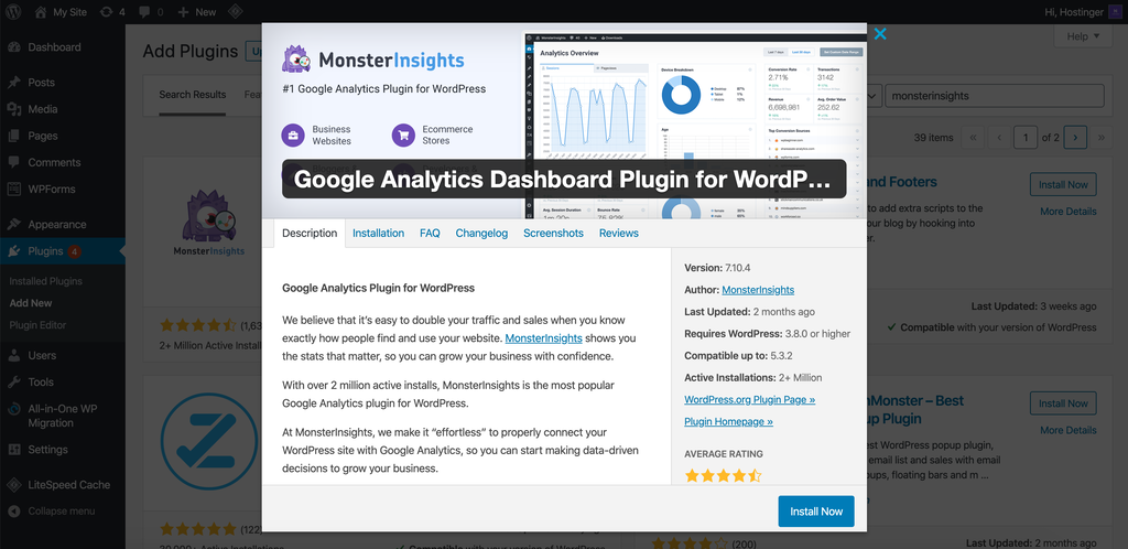 Downloading the MonsterInsights plugin for WordPress
