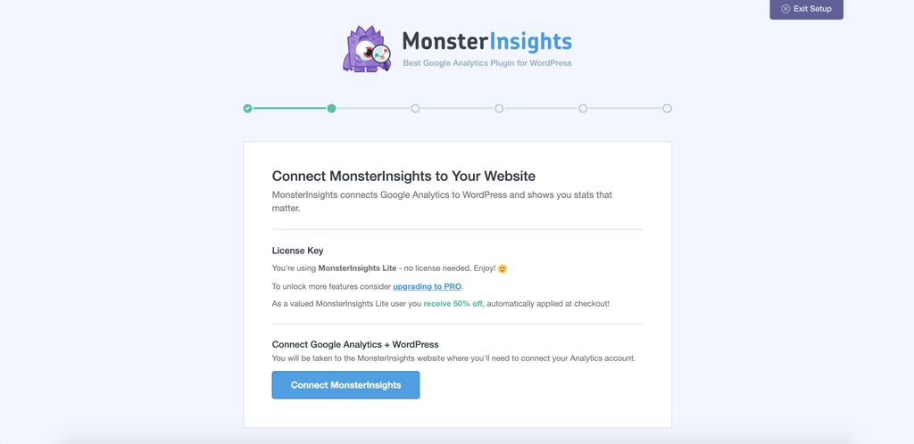 Connecting MonterInsights with your Google Analytics account