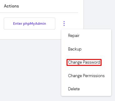 Screenshot of the MySQL change password button