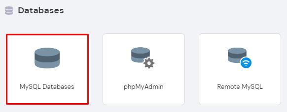 Screenshot of MySQL databases button