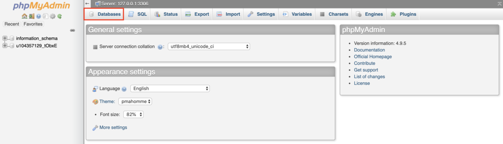 How to create a database in phpMyAdmin.