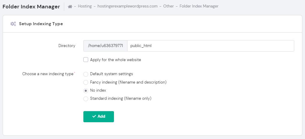 Screenshot showcasing the no index selection button