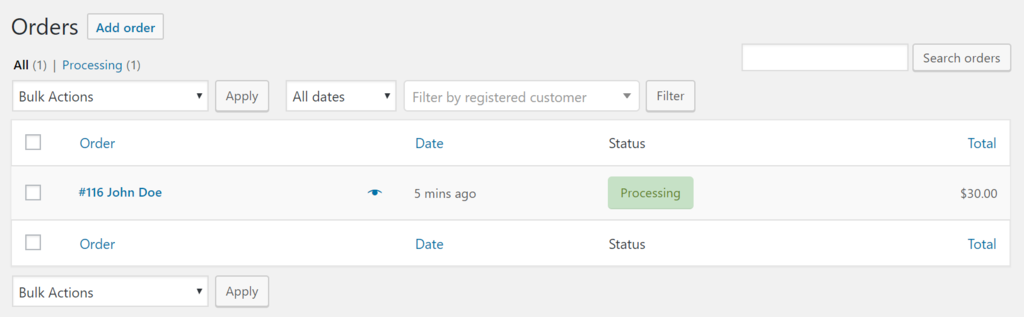 Managing orders in WooCommerce.