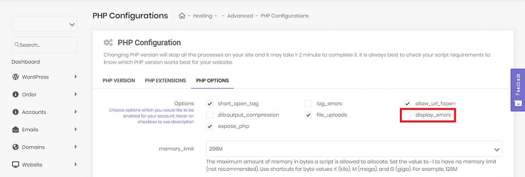 Disabling PHP error reporting for WordPress via Hostinger's hPanel.