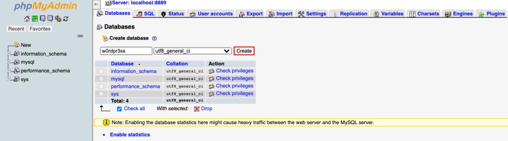 Screenshot of phpmyadmin's create database button