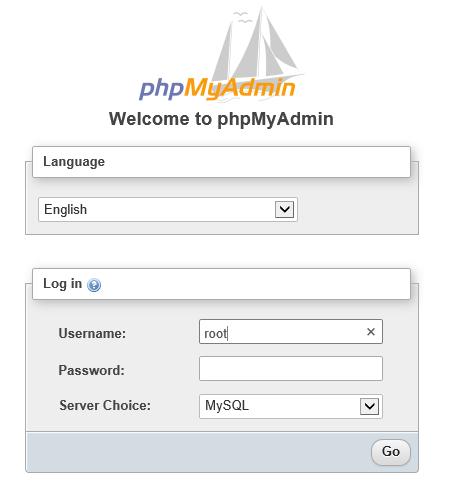 Screenshot of the phpmyadmin login screen
