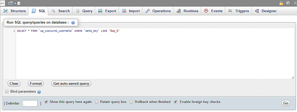 Inputing and executing a query to filter all values that contain wp_ prefix.