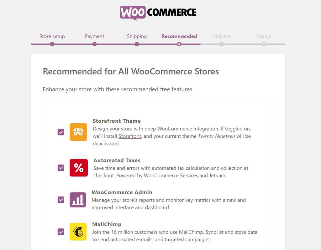 Enabling recommended extensions in WooCommerce.