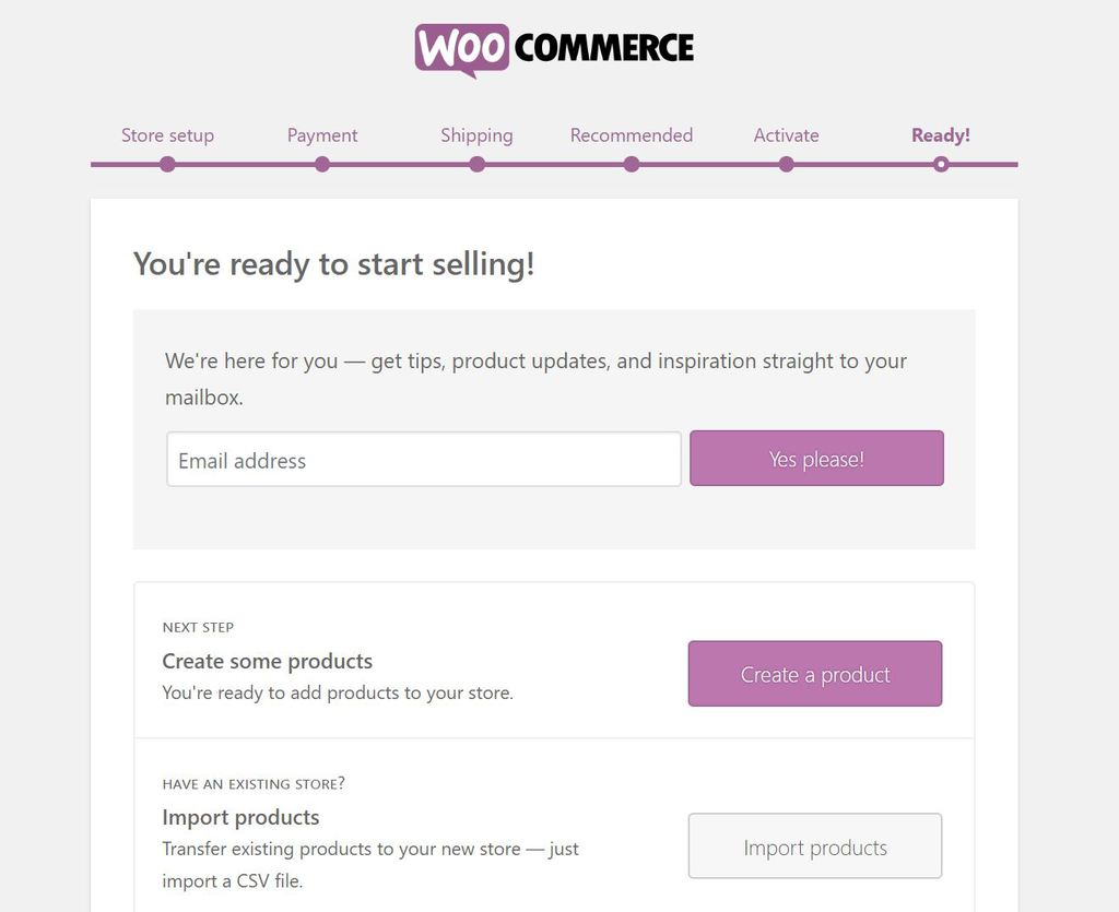 Finished setting up WooCommerce.