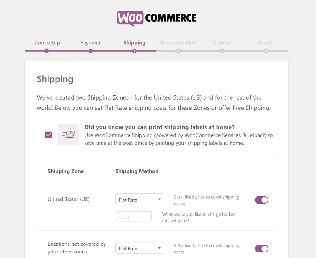 Setting up shipping in WooCommerce.