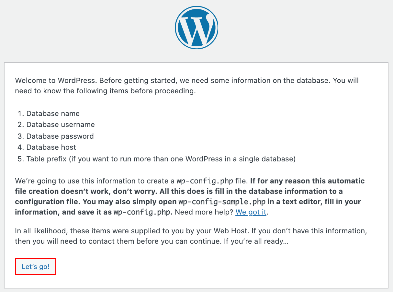 Screenshot of the Welcome to WordPress screen