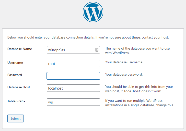 Screenshot fo the WordPress database connection form with password empty