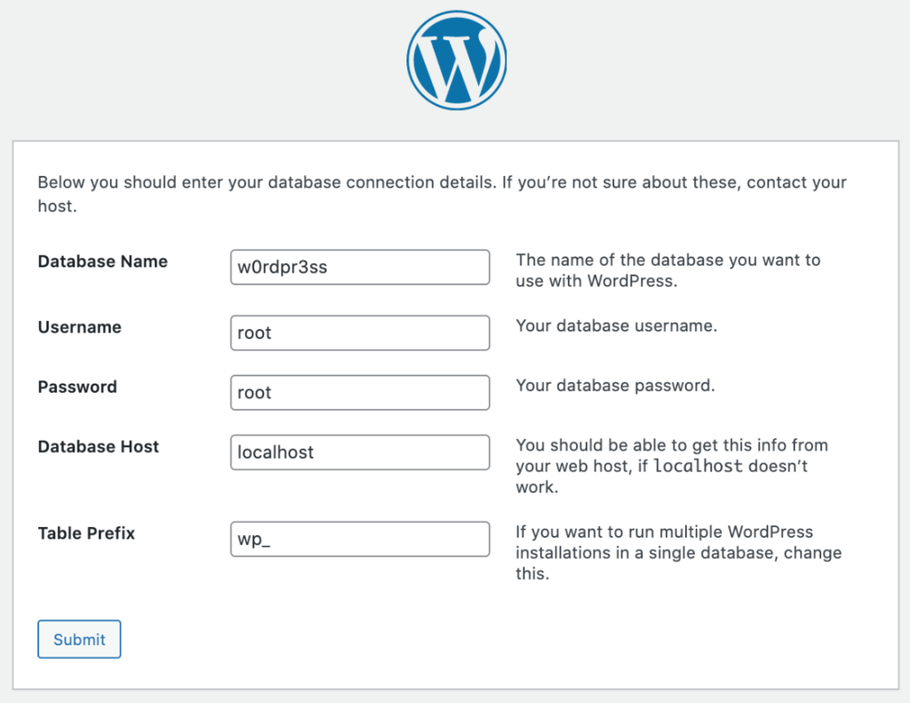 Screenshot fo the WordPress database connection form