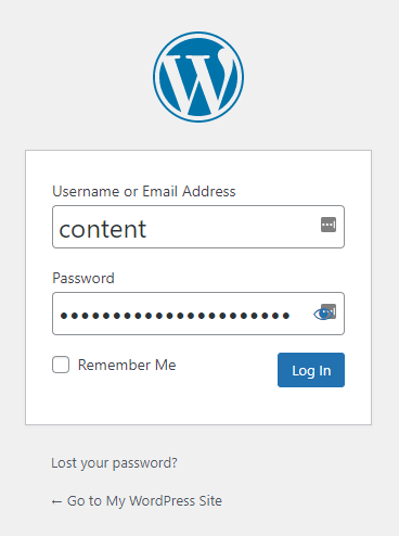 Screenshot of the WordPress login screen