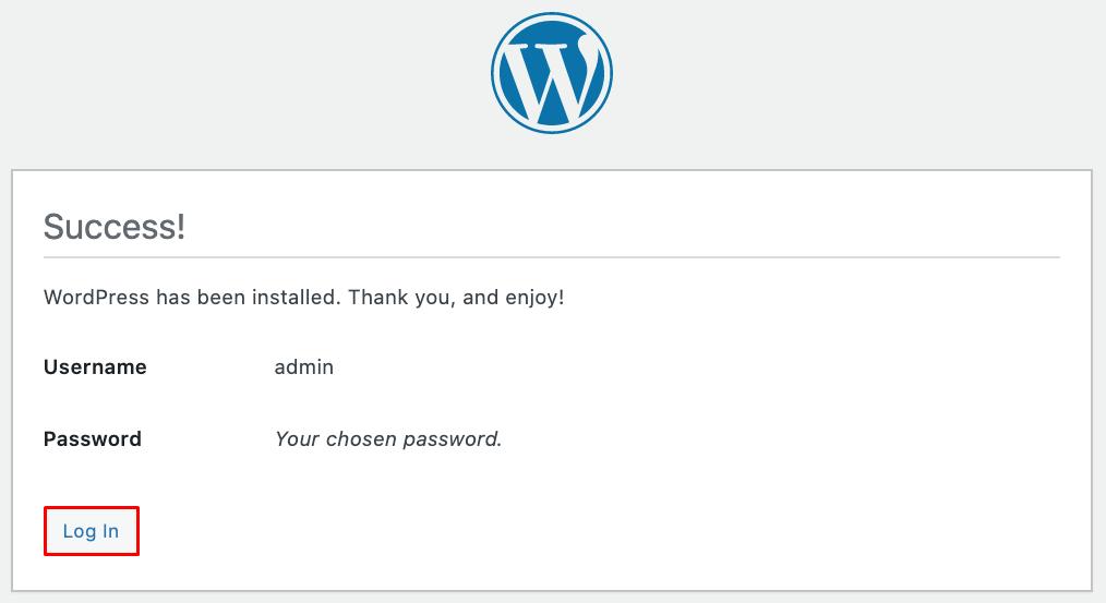 Screenshot of the WordPress successful installation screen