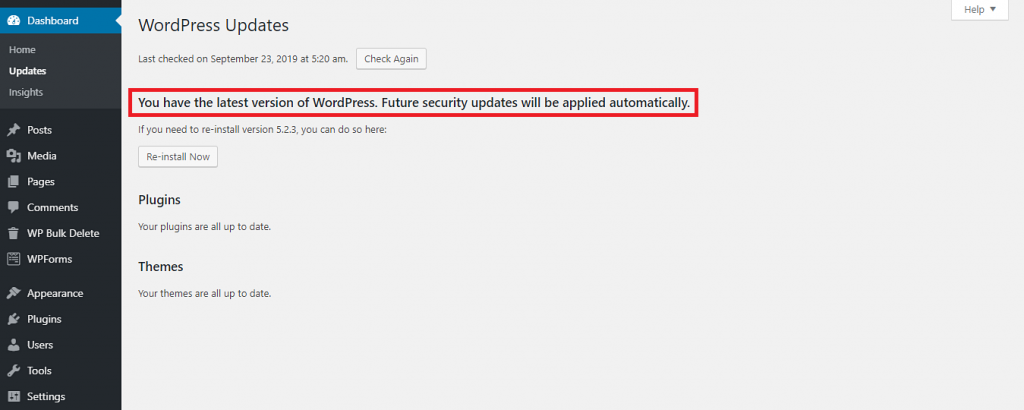 The WordPress Updates menu showing that the CMS is up to date