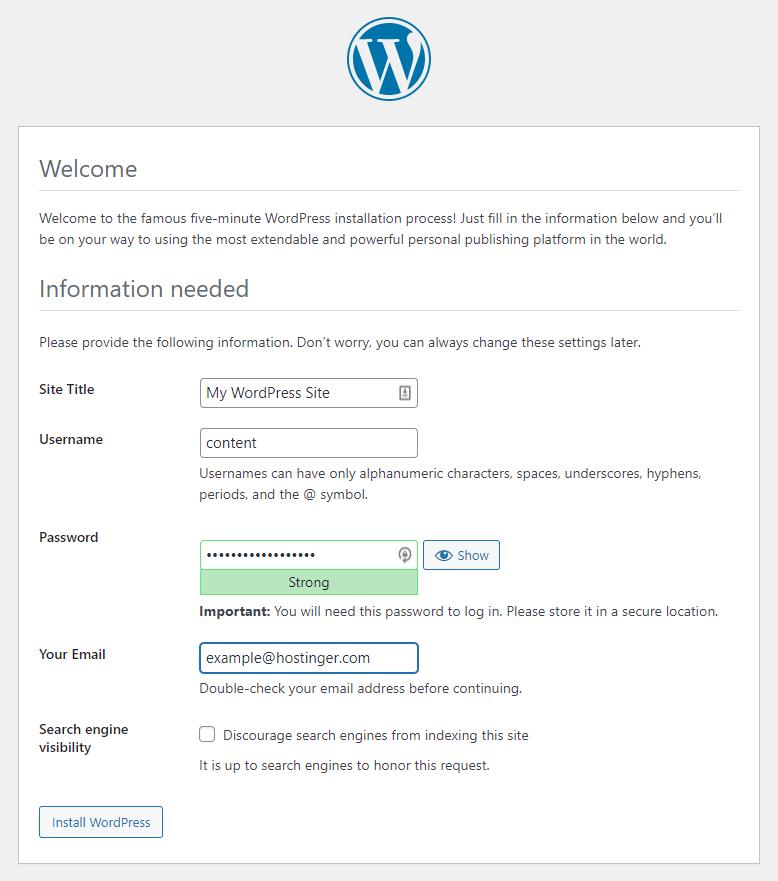 Screenshot of the WordPress website installation form