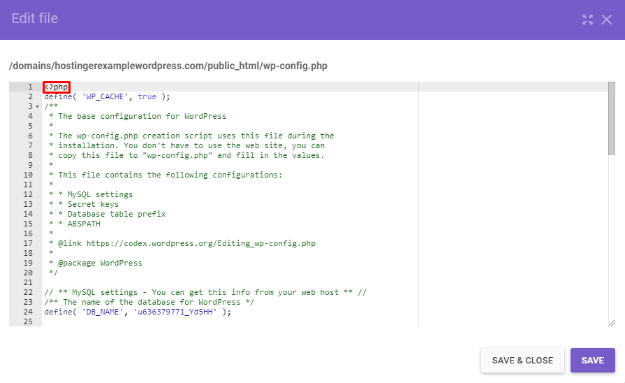 Screenshot of the wp-config file's code