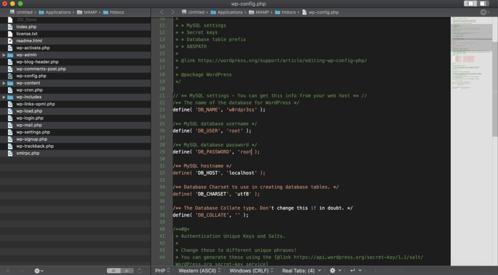 Screenshot of wp-config-sample file's code