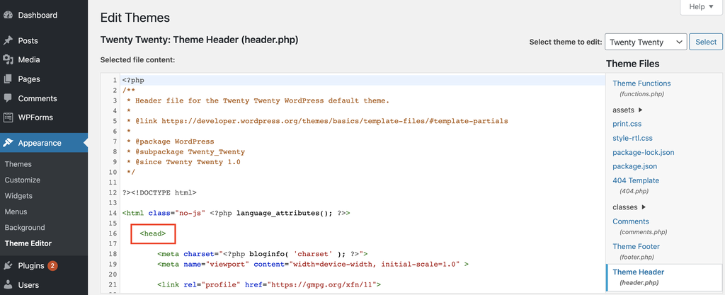 Editing the header.php file using the WordPress Theme Editor